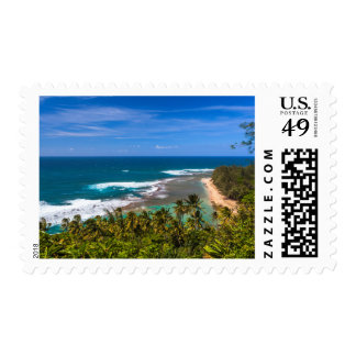 Tunnels Beach as seen from the Kalalau Trail Postage Stamp