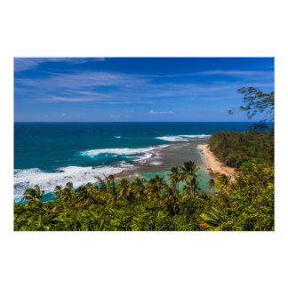 Tunnels Beach as seen from the Kalalau Trail Poster