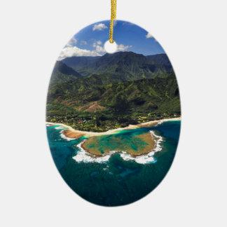 Tunnels Reef on the Hawaiian Island of Kauai Double-Sided Oval Ceramic Christmas Ornament