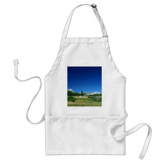 Tuolumne Meadows With The Moon Setting Adult Apron
