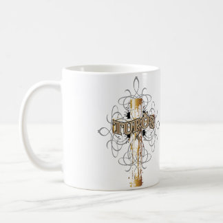 Tupos Gold Dripping Cross Coffee Mug