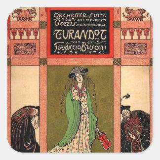 Turandot una ópera de Puccini Calcomania Cuadradas