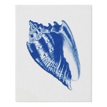 Beach Themed Turban Conch Shell, Indigo Blue and White Faux Canvas Print