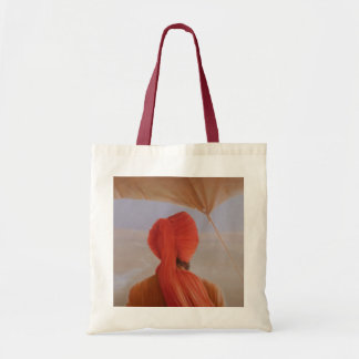 Turbaned backview with tenting tote bag