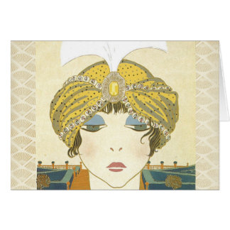Turbaned Poiret 1900s Fashion Illustration Card