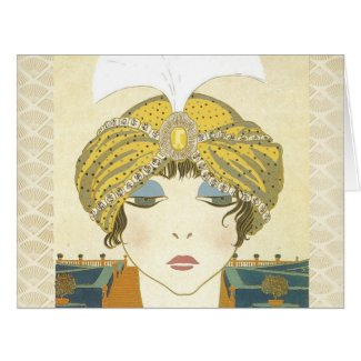 Turbaned Poiret 1900s Fashion Illustration Greeting Card