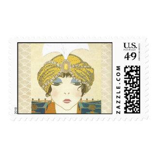 Turbaned Poiret 1900s Fashion Illustration Postage