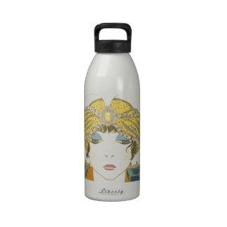 Turbaned Poiret 1900s Fashion Illustration Water Bottles