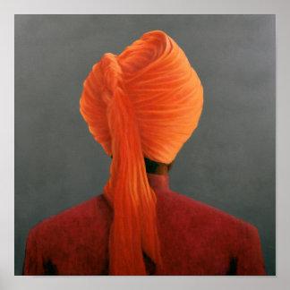 Turbante anaranjado póster