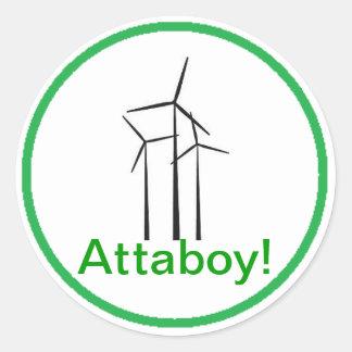 Turbina de viento del muchacho de Atta Etiquetas Redondas