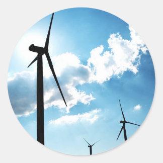 Turbina de viento pegatina redonda