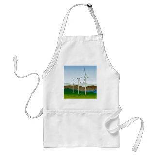 Turbina de viento por el lago delantales