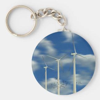 Turbina de viento verde de la energía llavero redondo tipo pin