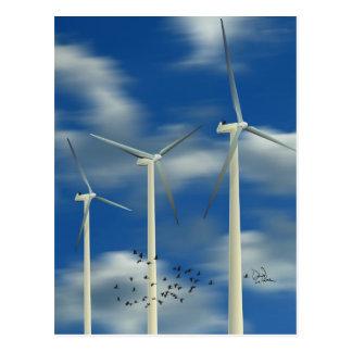 Turbina de viento verde de la energía tarjetas postales