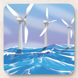 Turbinas de la energía eólica del mar posavasos de bebida