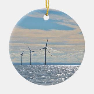 Turbinas de viento adorno navideño redondo de cerámica