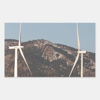 Turbinas de viento con un retrato de la Luna Llena Rectangular Pegatinas