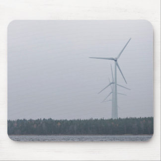 Turbine Themed, Tall, White Wind Turbines Generate Mouse Pad