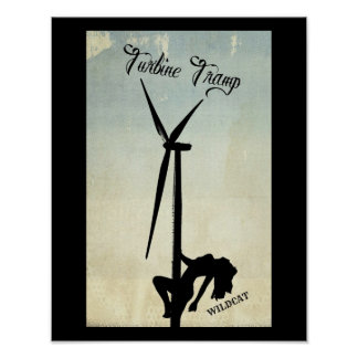 Turbine Tramp Blue and Tan Design Poster