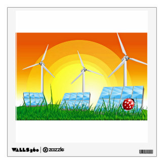 Turbines In  A Field With Sunshine Wall Decal