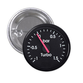 """""""Turbo Gauge"""" design gifts and products Button"""