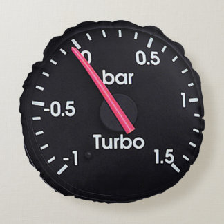 """Turbo Gauge"" design gifts and products Round Pillow"