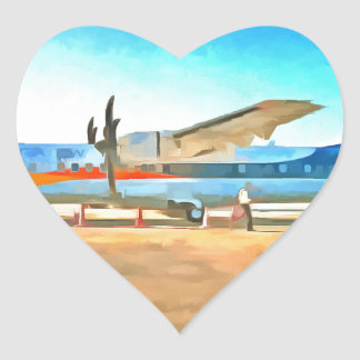Turbo prop plane heart sticker