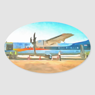 Turbo prop plane oval sticker