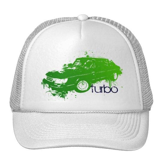 turbo sedan splatter paint -lime trucker hat