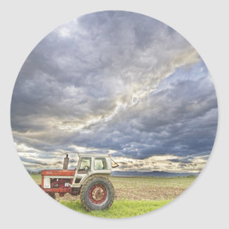Turbo Tractor Country Evening Skies Classic Round Sticker