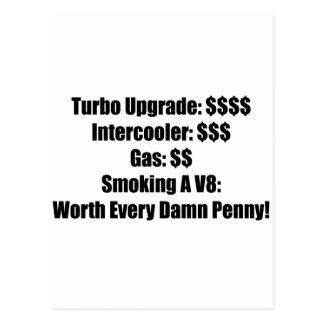 Turbo Upgrade Intercooler Gas Smoking A V8 Postcard