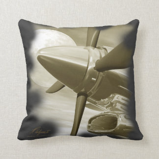 Turbo Vintage Aircraft Pillow Gold Dark Grey