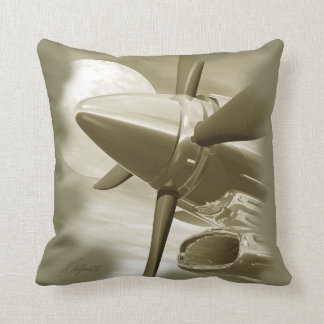 Turbo Vintage Aircraft Pillow Gold Sepia