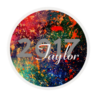 Turbulence Grad | Custom Year Rainbow Splatter | Edible Frosting Rounds