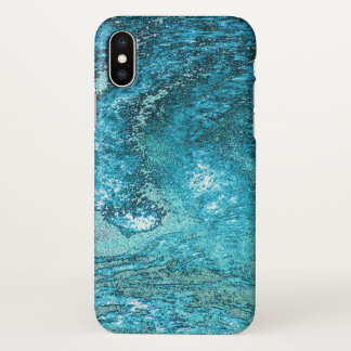 Turbulent blue and green wave art design. iPhone x case