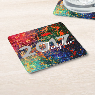 Turbulent Bright Rainbow Splatter Graduation Party Square Paper Coaster