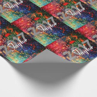 Turbulent Bright Rainbow Splatter Graduation Wrapping Paper