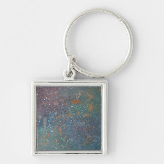 Turbulent Faded Worn Rainbow Splatter Abstract Keychain