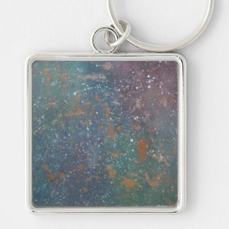 Turbulent - Red Orange Blue Green Rainbow Nebula M Keychain