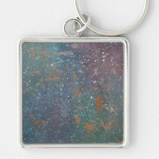 Turbulent - Red Orange Blue Green Rainbow Nebula M Silver-Colored Square Keychain