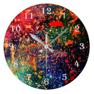 Turbulent Red Orange Green Blue Whimsical Geek  .p Large Clock