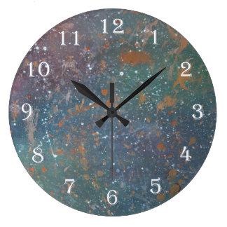 Turbulent Worn Jewel Tone Rainbow Splatter Nebula Large Clock
