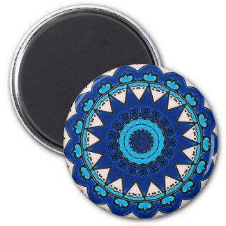 Turco Iznik del diseño del azul y del blanco Imán Redondo 5 Cm