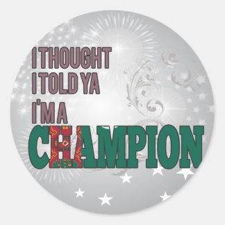 Turcomano y un campeón etiquetas redondas