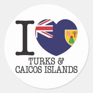 Turcos Caicos y amor v2 de las islas Etiquetas Redondas