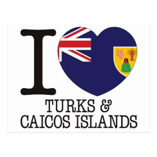 Turcos Caicos y amor v2 de las islas Postal