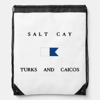 Turcos de la isleta de la sal y bandera alfa de la mochilas