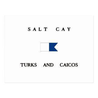 Turcos de la isleta de la sal y bandera alfa de la tarjeta postal