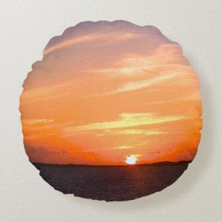 Turcos de la puesta del sol el   y foto magníficos cojín redondo