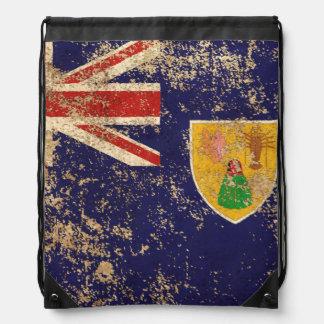 Turcos del vintage y bandera envejecidos ásperos mochila